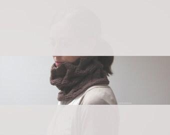 Brown cowl neckwarmer, wool knit circular scarf