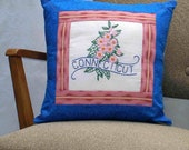 Connecticut pillow, cottage, cabin, farmhouse decor with vintage embroidery -- a keepsake gift. Includes pillow form.
