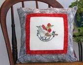 Vermont bird pillow, vintage embroidery, dorm decor, cabin, cottage, farmhouse, hermit thrush -- a keepsake gift. Includes pillow form.