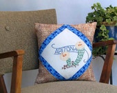 Arizona cactus pillow, cabin, cottage, farmhouse decor with vintage, hand-embroidered quilt block--a keepsake gift. Includes pillow form.