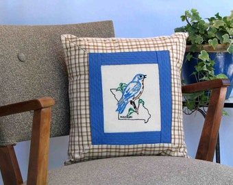 Missouri bird pillow, cottage, cabin, farmhouse decor with vintage hand-embroidered quilt block -- a keepsake gift. Includes pillow form.