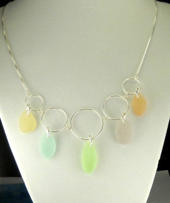 Statement Necklace Pastel GENUINE Sea Glass Sterling Silver