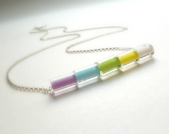 Pastel Necklace - long .925 sterling silver chain - small simple furnace glass / cane bead tubes - fresh spring color aqua blue purple green
