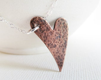 Copper Heart Love Necklace - Sterling Silver, Mixed Metals, Copper Metalwork, Modern, Copper Jewelry