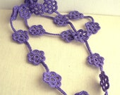 Lavender Long Flower Necklace - Bridesmaid Purple Necklace - Lace Fashion - Boho chic - gift idea for her - Mother's daygift