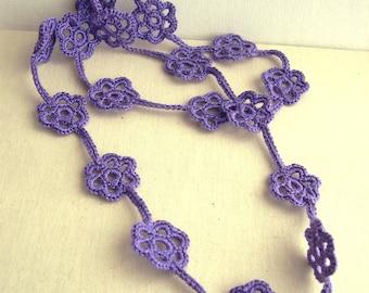 Lace Flower Necklace - Lavender Long Flower Necklace - Bridesmaid Purple Necklace - Crochet Flower Necklace -  Boho chic jewelry