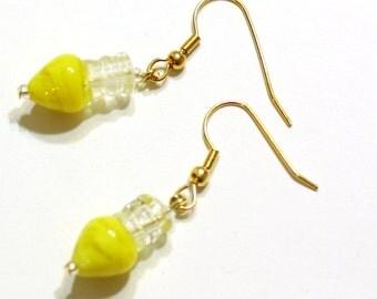 Yellow Christmas Earrings - Yellow Christmas Bulb Lampwork Glass Bead Earring - Womens Holiday Jewelry