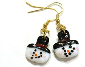 Snowman Earrings - Snowman Lampwork Bead Earrings - Winter Christmas Jewelry - Snowman with Hat Glass Beaded Earrings