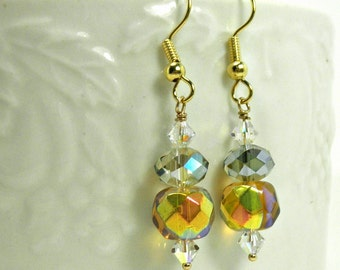 Amber Glass, Ice Blue Glass, & AB Clear Swarovski Crystal Earrings