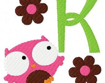 Owl Flyby Machine Embroidery Monogram Font Design Set // Joyful Stitches