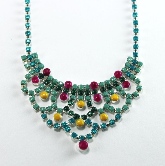 Neon Hand Painted Rhinestone Necklace in Turquoise, Aqua, Green, Yellow and Pink