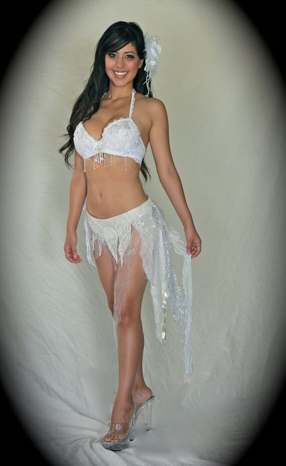 Bra Top  And Mini Skirt , White Bridal Boudoir Fairy  Lingerie  Adorned w/ Sequin, Lace and Beads