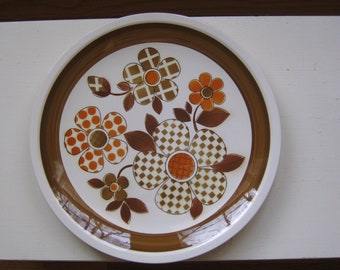 Orange & Brown Polka Dot Plaid Mikasa Cera Stone Meadow View Chop Plate Meadowview
