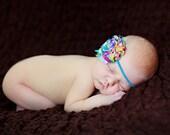 Rainbow Flower Headband, Shabby Chic Headband, Tye-Dye Flower Headband, Turquoise Headband, Baby Headband, Newborn Headband, Infant Headband