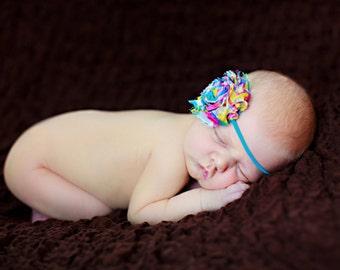 Shabby Baby Headbands, Baby Girls Headbands, Toddler Headbands, Baby Shower Gift, Rainbow Flower Headband, Newborn Headbands, Photo Prop