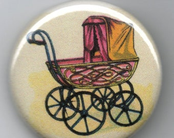 Baby Buggy/Perambulator 1.25 inch Pinback Button  Vintage Illustration
