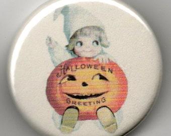 Halloween Greetings1.25 inch Pinback Button Vintage Postcard Illustration
