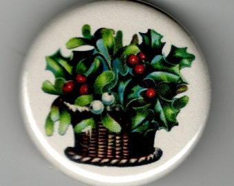 Holly and Mistletoe Christmas Image 1.25 inch Button