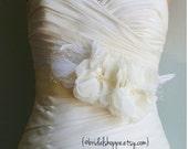 Wedding Sash Bridal Belt  - MEGAN -Ivory and Ivory Lace with Birdcage Veil Bridal Sash