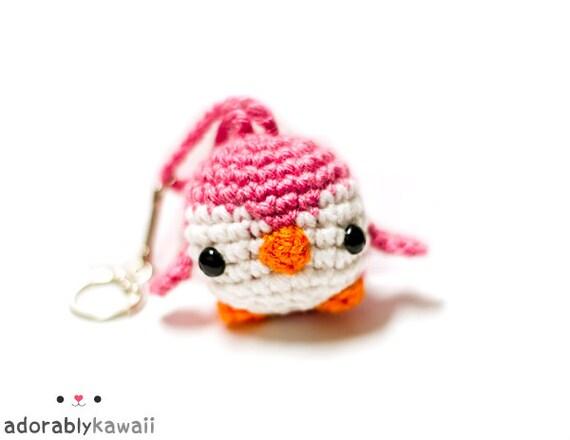 cute pink penguin amigurumi plushie keychain accessory