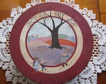 Folk Art Vintage Tin Signed Debbie Kingston - Collectible - Fall Autumn Decor