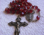 Vintage Red Glass Catholic Rosary