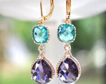 Purple Earrings Sea blue Glass Teardrop in 14k gold plate, bridesmaids gift, bridesmaids earrings