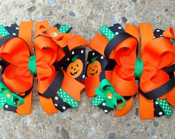 2 Pumpkin Hair Bows Fall Hair Bows Thanksgiving Hair Bows Hair Clip Large hair bow large boutique hair bow