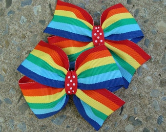 TWO 3 inch pigtails Rainbow Hair Bows Pigtails Hair Bow Set Pigtail Hair Clip