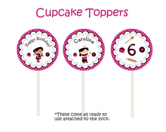 Cooking Birthday Party Cupcake Toppers -- 24 cupcake toppers -- baking party cupcake toppers