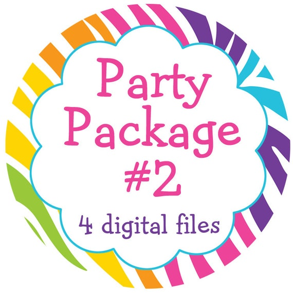 Party package - any four digital files -  matches any invitation theme in my shop. -- you choose your digital files