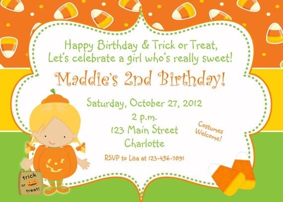 Halloween party invitation --  pumpkin invitation -  halloween birthday party invitation -- You print or I print - any hair color