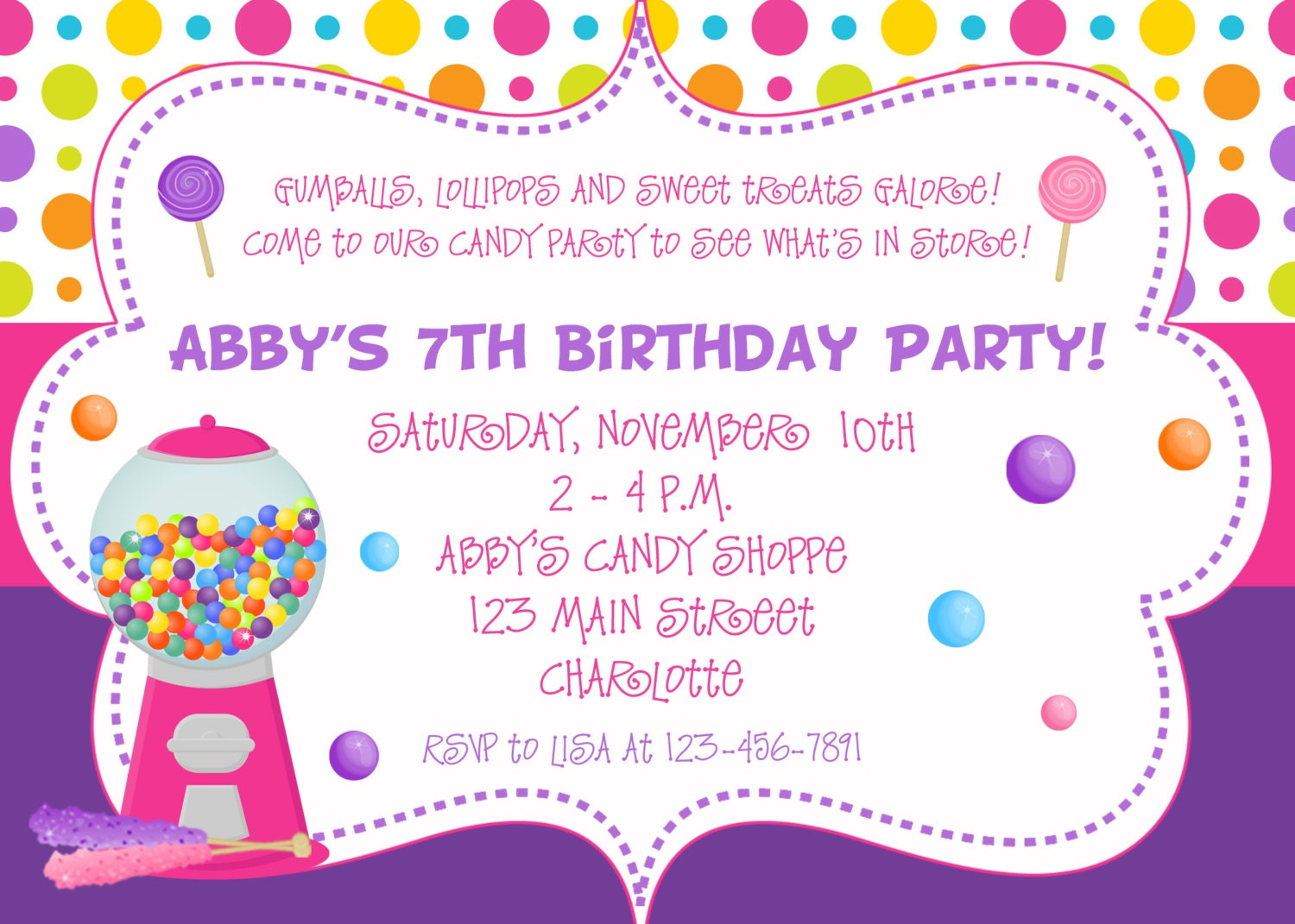 Candy Birthday Party Invitation candy party by TheButterflyPress