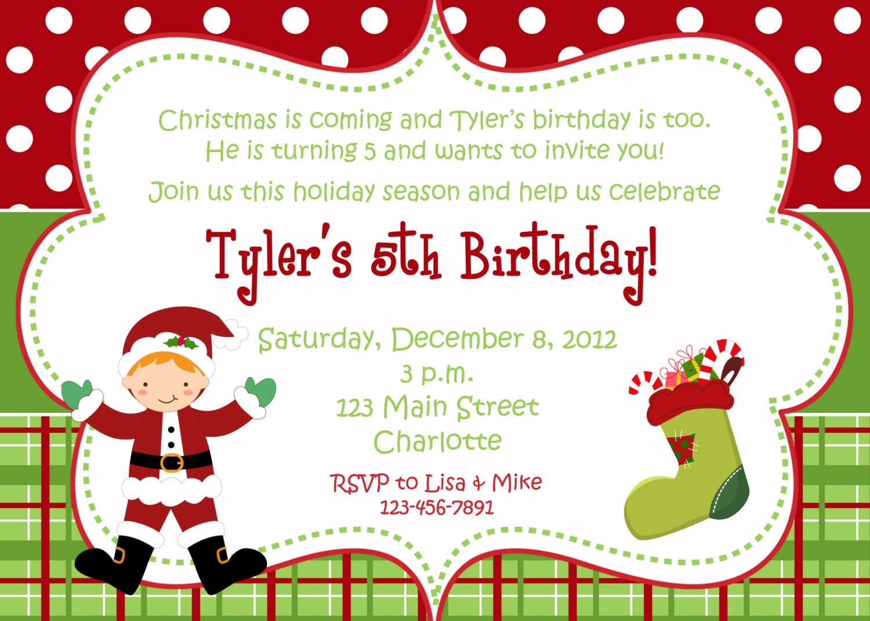 Christmas birthday party invitation Christmas birthday