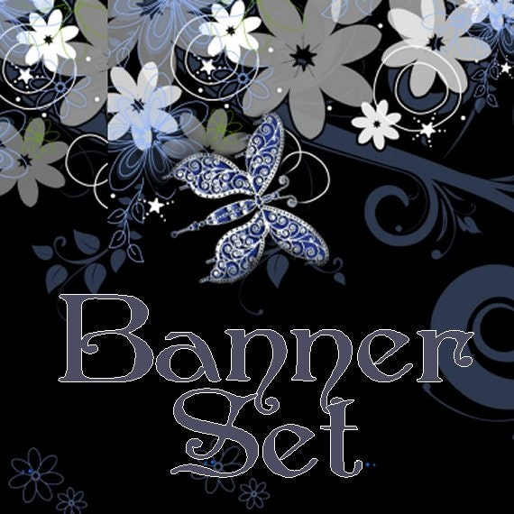 Etsy Shop Banner Set Butterfly Flowers 4 Banners, 1 Avatar plus 3 other Images 8 TOTAL