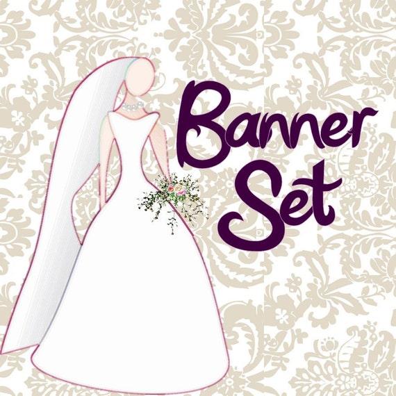 Etsy Shop Banner Set WEDDING 4 Banners, 1 Avatar 3 other Images 8 TOTAL