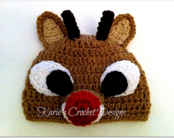 RUDOLPH The Red Nosed Reindeer Crochet Hat Beanie