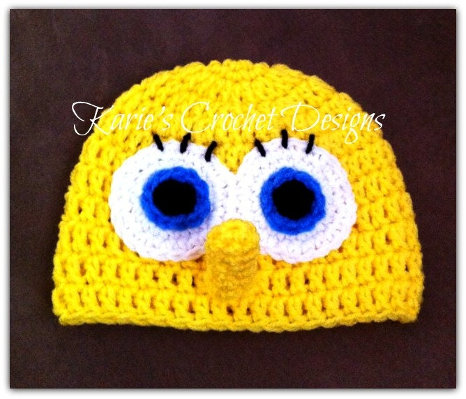 Sponge Bob Beanie Hat Handmade Crocheted by ...