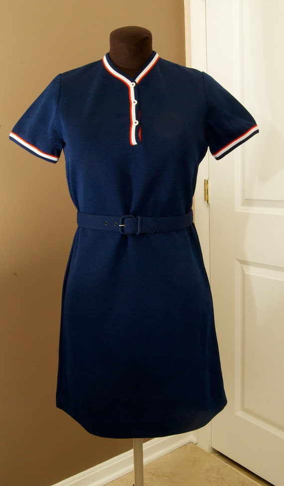 Vintage Navy Belted Tennis Dress by Susan Thomas