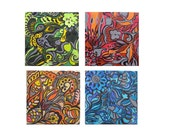 """RESERVED for V RAO---Abstract painting small nature art- 12""""x12"""" set of 4 nature painting red blue green yellow by devikasart"""