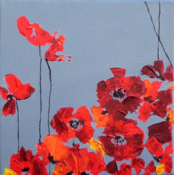 "ORIGINAL Red Poppy painting Ready to ship 8""x8"" Red orange gray devikasart on Etsy"