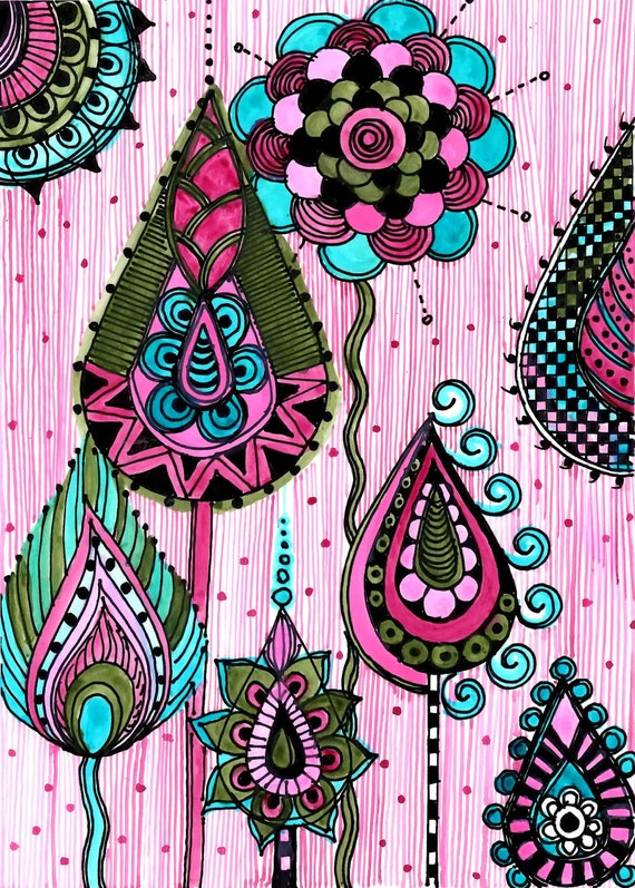 FINE ART PRINT pink blue green- ink and acrylic painting
