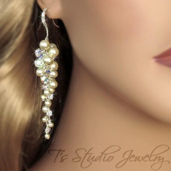 Long Pearl Chandelier Bridal Earrings Crystal Grape Cluster – Pearl Chandelier Bridal Earrings