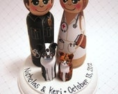 Wedding Cake Topper / Customized Wood Peg Dolls / Couple plus 2 small pegs (perfect for children or pets) and a plaque