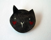 funny black cat head, wooden brooch hand made in Italy