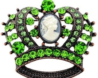 Vintage Style Erinite Cameo Crown Pin Brooch 1002751