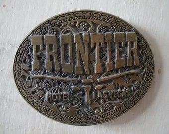 Vintage Frontier Hotel Las Vegas Belt Buckle Brass 1970's
