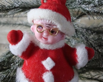 Vintage Mrs Claus Felted Ornament Adorable 1950s or 60s