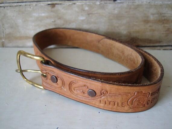 Vintage Child's Hand Tooled  Little Deputy Western Belt Brown Sz 24 Adorable