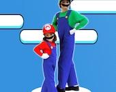 Mario Bros Costume --- Luigi Costume (4 pieces set)